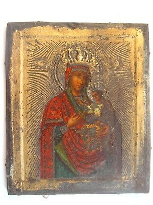 Antique 19c Russian Orthodox Printed on metal small icon Mother of God.