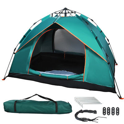 UK Waterproof 2-3 Man Person Instant Pop Up Double Layer Beach Tent Camping