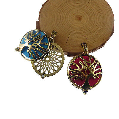 Pack of 2 Antiqued Bronze Brass Locket Prayer Box Hollowed Tree Design Pendants