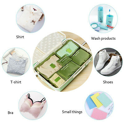 6pcs Packing Cubes Organizers Set with Shoes Bag Compression Travel Luggage