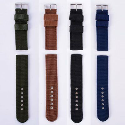18-24mm Mens Nylon Leather Army Military Replacement Wristwatch Band Strap US