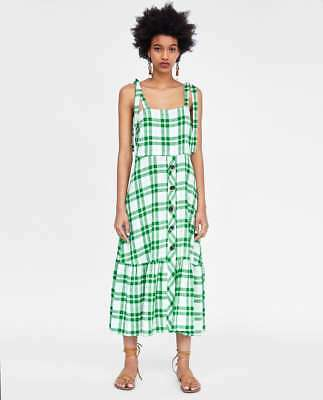 b2ce1ac8002 ZARA NEW SS 2018 CHECKED DRESS WITH BUTTONS GREEN SIZES XS M L Ref. 9479