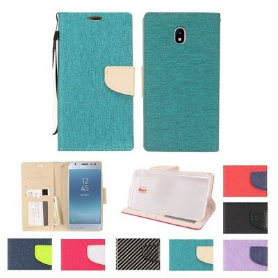 Samsung Galaxy J7 2018 PU Leather Slot Wallet Flip Pouch Stand Case Skin Cove