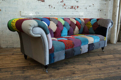 Handmade Unique 3 Seater Multicoloured Fabric Patchwork Chesterfield