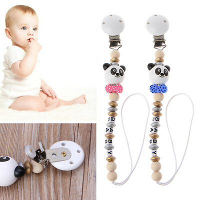 Cute Baby Wooden Teething Dummy Pacifier Clip Bead Infant Soother Nipple Strap