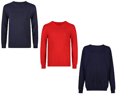 Boys School Jumpers V Neck Ex Uk Store 3-16 Years Cotton Uniform Brand New