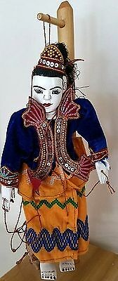 Antique Burmese Hand Carved Painted Jointed Marionette Puppet Doll