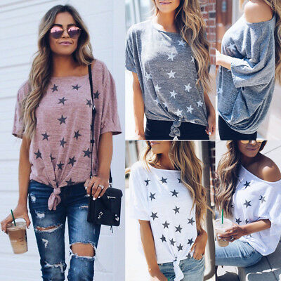 Women's Summer Star Short Sleeve Casual T Shirt Tops Blouse Ladies Loose Tee