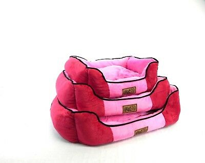 Pink Wine Soft Dog Cat Pet Bed With Fleece Top Cushion Inside In Sml,med,lrg
