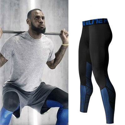 Men's Compression Trousers Running Pants Gym Long Tights Workout Joggers Fitness