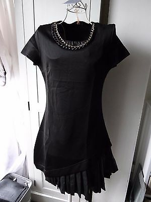 In VOGUE faux leather pleat dress with neck chain size 8-10