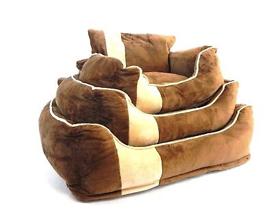 Brown/beige Soft Comfy Dog Cat Pet Sofa Bed Various Sizes Sml,med,lrg