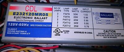 CDL E232120MR05 ELECTRONIC BALLAST 2-LAMP T8 32W or T12 40W + Others 120V 60HZ