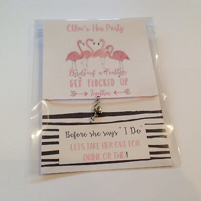 Personalised Hen Party favours wish bracelets Flamingo charm Get Flocked up