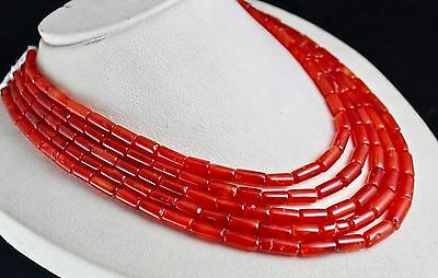 Natural Carnelian Beads Fancy Tube 5 Line 743 Carats Gemstone Necklace