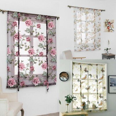 Rod Liftable Kitchen Bathroom Window Floral Roman Curtain Sheer Voile Valances