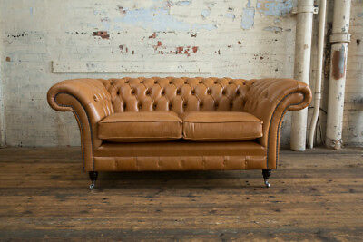 Handmade 2 Seater Vintage Antique Tan Leather Chesterfield Sofa Couch Chair