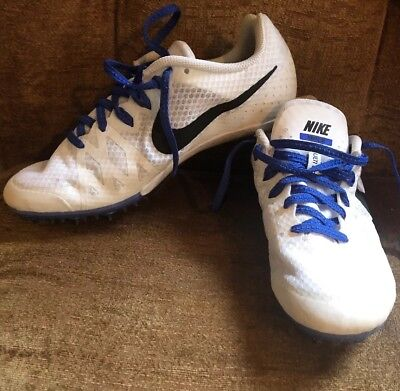 new york 14f0b 95024 Nike Zoom Rival M8 Track Spikes White Size 8. White and blue. Spikes  included