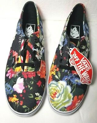 4828b6dd47d8f2 VANS Hawaiian Floral Black Classic Authentic SNEAKER SHOES Flowers 8 9.5 NEW