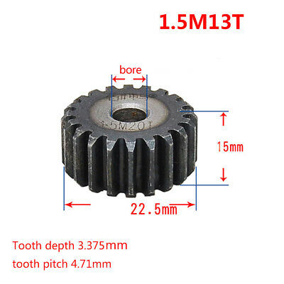 1.5Mod 13T Spur Gear 45# Steel Gear Outer Diameter 22.5mm Thickness 15mm x 1Pcs