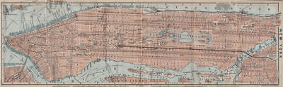 MANHATTAN antique town city plan panorama. New York City. BAEDEKER 1909 map
