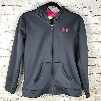 Under Armour Kids Girls T-Shirt Hooded Top Logo on Sleeve Gray SZ YLG NWT $35.00