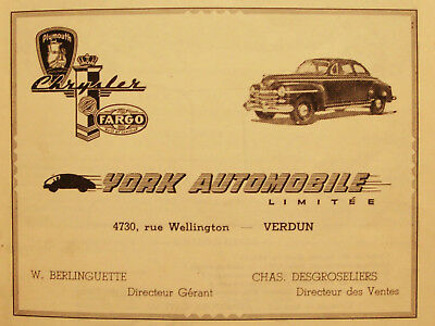 Chrysler - Plymouth - Classic Car Ad - Vintage 1940's Advertising - Montreal