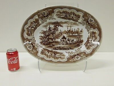 HUGE Antique Brown Staffordshire Transferware Damascus Platter Adams