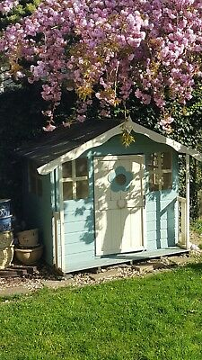 Large Garden Wooden Play House Childrens Summer Painted Roof Needs