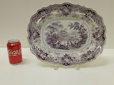 Huge ANTIQUE 1830s Purple Staffordshire Transferware Italian Villa Platter