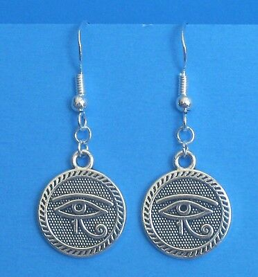 Eye of RA Horus pierced earrings .925 STERLING Silver hooks Handcrafted