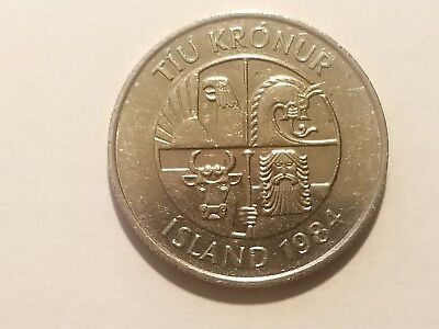 1984 Iceland 10 Krónur - Capelin Fish, The Four Traditional Protector Spirits