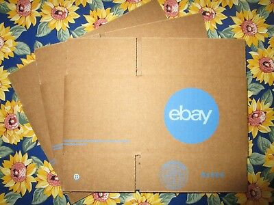"3-pk eBay-Branded Shipping Boxes with Blue 2-Color Logo 6"" x 4"" x 4"" -- Lot of 3"