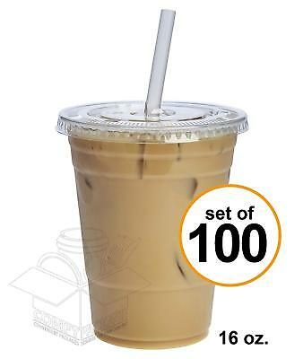 100 Sets 16 oz. Plastic CRYSTAL CLEAR Cups with Flat Lids [by COMFY PACKAGE] for