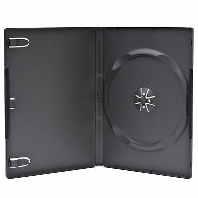 5 PCS Standard 14mm Black Single DVD Cases with Clear Overlay Holds 1 Disc