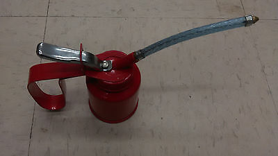 Metal Pump Oiler Oil Tin Squirt Can Tool 4 oz flexible spout oil can