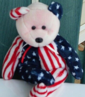 1999 Spangle Bear Ty Beanie Baby w/no ear tag, pink face & nice condition NEW