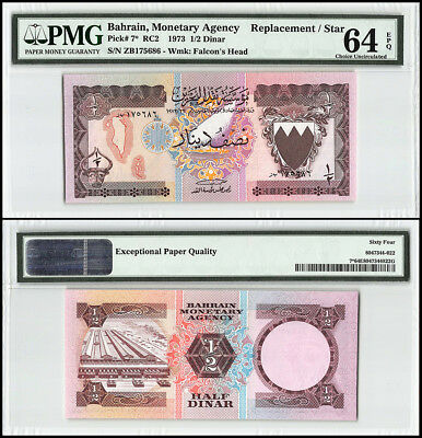 Bahrain 1/2 - Half Dinar, 1973, P-7, Head of Bull, Dhow, Replacement/Star,PMG 64