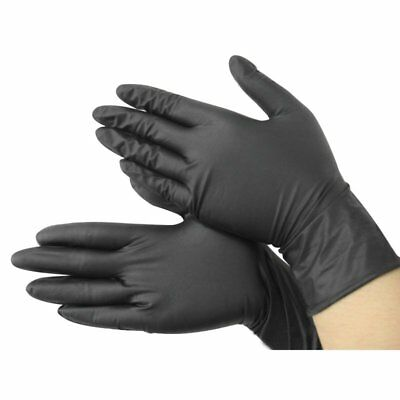 100x Black Nitrile Disposable Cool Gloves Power Free- Tattoo - Mechanic New O3F2