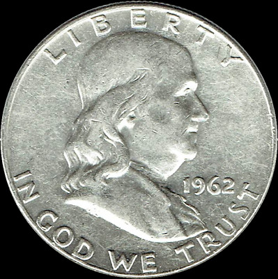 "A 1962 D Franklin Half Dollar 90% SILVER US Mint ""Average Circulation"""