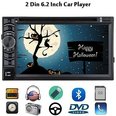 "6.2"" Double 2DIN Car Stereo Radio CD DVD Player Bluetooth Touch FM/AM TV USB SD"