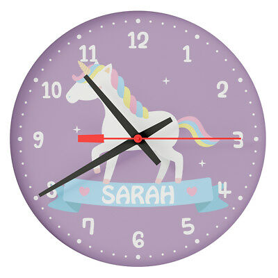 Personalised Custom White Unicorn Wall Clock Girls Bedroom Clock Any Name Print
