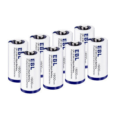 8x EBL 1600mAh CR123A Lithium Battery 3V Phonto Batteries for Flashlight Camera