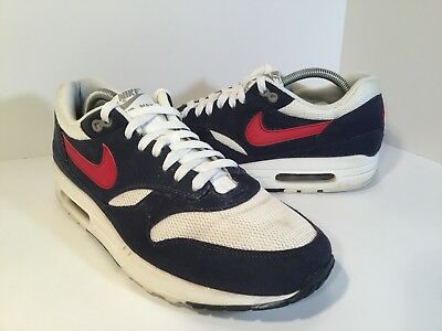 cbb764fdef32 NIKE AIR MAX 1 USA Olympic Red White Blue Mens Size 10 308866-110 ...