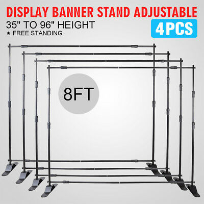 4*BANNER STAND 8' x 8' ADJUSTABLE STEP AND REPEAT PROMOTION TELESCOPIC BACKDROP