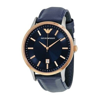 New Emporio Armani Ar2506 Men's Navy Rose Gold Watch, Coa - 2 Y. Warranty