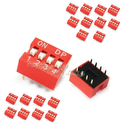 20 x 4 Position Way Slide Style DIP Switch 2.54mm Pitch Gold Tone 8 Pin PCB Code