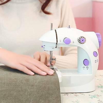Mini Electric Sewing Machine Portable Desktop Hand Held Double Speed with Light