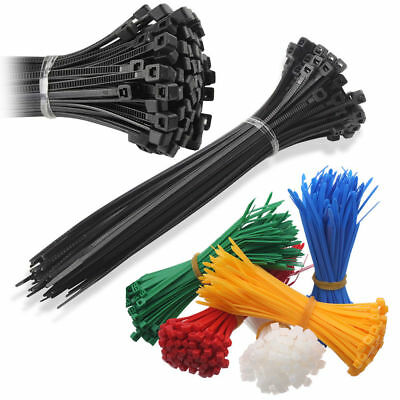 Strong Quality Nylon Cable Ties Zip Various Sizes Colours Black White Wraps Uk