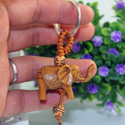 Charm Lucky Elephant Carving Wooden Pendant Keychain Key Ring Evil Defends Gift